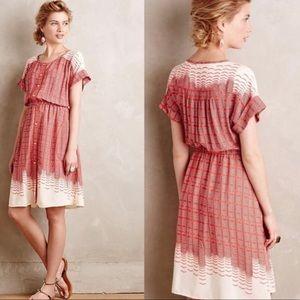 Anthropologie Maeve Red Cream Medium Shirt Dress